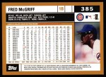 2002 Topps #385  Fred McGriff  Back Thumbnail