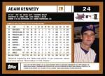 2002 Topps #24  Adam Kennedy  Back Thumbnail