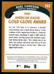 2002 Topps #702   -  Mike Cameron Golden Glove Back Thumbnail