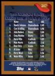 2002 Topps #347   -  Randy Johnson / Curt Schilling / Paul Burkett League Leaders Back Thumbnail