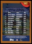 2002 Topps #347   -  Randy Johnson / Curt Schilling / Paul Burkett League Leaders Back Thumbnail