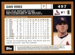 2002 Topps #497  Dave Veres  Back Thumbnail