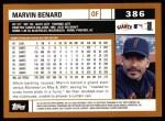 2002 Topps #386  Marvin Benard  Back Thumbnail