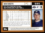 2002 Topps #505  Ben Sheets  Back Thumbnail