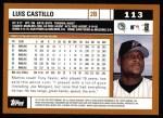 2002 Topps #113  Luis Castillo  Back Thumbnail