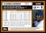 2002 Topps #100  Vladimir Guerrero  Back Thumbnail