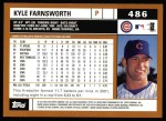 2002 Topps #486  Kyle Farnsworth  Back Thumbnail