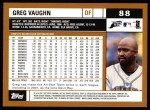 2002 Topps #88  Greg Vaughn  Back Thumbnail