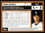 2002 Topps #12  Mark Buehrle  Back Thumbnail