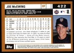 2002 Topps #422  Joe McEwing  Back Thumbnail