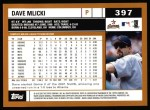 2002 Topps #397  Dave Mlicki  Back Thumbnail