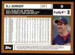 2002 Topps #9  B.J. Surhoff  Back Thumbnail