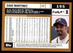 2002 Topps #195  Dave Martinez  Back Thumbnail