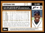 2002 Topps #148  Esteban Yan  Back Thumbnail