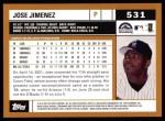 2002 Topps #531  Jose Jimenez  Back Thumbnail