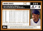 2002 Topps #231  Mark Grace  Back Thumbnail