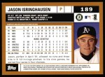 2002 Topps #189  Jason Isringhausen  Back Thumbnail