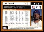 2002 Topps #503  Tom Gordon  Back Thumbnail