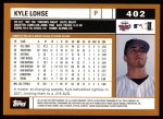 2002 Topps #402  Kyle Lohse  Back Thumbnail