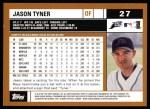 2002 Topps #27  Jason Tyner  Back Thumbnail