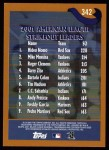 2002 Topps #342   -  Nomo / Mussina / Clemens League Leaders Back Thumbnail