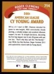 2002 Topps #714  Roger Clemens  Back Thumbnail