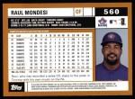 2002 Topps #560  Raul Mondesi  Back Thumbnail