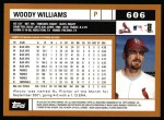 2002 Topps #606  Woody Williams  Back Thumbnail