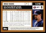 2002 Topps #120  Brad Radke  Back Thumbnail