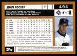 2002 Topps #494  John Rocker  Back Thumbnail