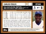 2002 Topps #256  Carlos Febles  Back Thumbnail