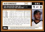 2002 Topps #181  Alex Gonzalez  Back Thumbnail