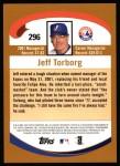 2002 Topps #296  Jeff Torborg  Back Thumbnail
