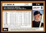 2002 Topps #74  J.T. Snow  Back Thumbnail