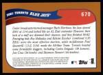 2002 Topps #670   Toronto Blue Jays Back Thumbnail