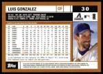 2002 Topps #30  Luis Gonzalez  Back Thumbnail