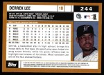 2002 Topps #244  Derrek Lee  Back Thumbnail