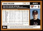 2002 Topps #403  Craig Wilson  Back Thumbnail