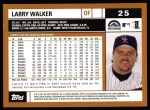 2002 Topps #25  Larry Walker  Back Thumbnail