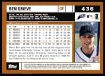 2002 Topps #436  Ben Grieve  Back Thumbnail