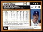 2002 Topps #480  Shawn Green  Back Thumbnail