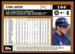 2002 Topps #106  Stan Javier  Back Thumbnail