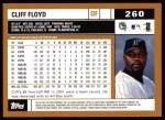 2002 Topps #260  Cliff Floyd  Back Thumbnail