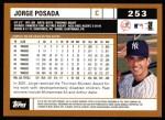 2002 Topps #253  Jorge Posada  Back Thumbnail
