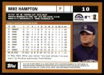 2002 Topps #10  Mike Hampton  Back Thumbnail
