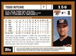 2002 Topps #156  Todd Ritchie  Back Thumbnail