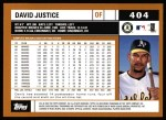 2002 Topps #404  David Justice  Back Thumbnail