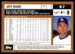 2002 Topps #87  Jeff Shaw  Back Thumbnail