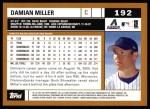 2002 Topps #192  Damian Miller  Back Thumbnail