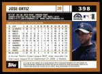 2002 Topps #398  Jose Ortiz  Back Thumbnail